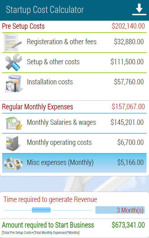 Start-up Cost Calculator - screenshot
