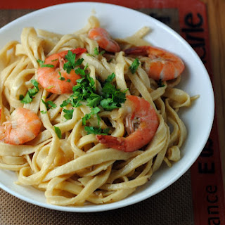 Tagliatelle with Shrimp and Champagne Butter Sauce.