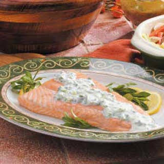 Grilled Salmon with Creamy Tarragon Sauce.
