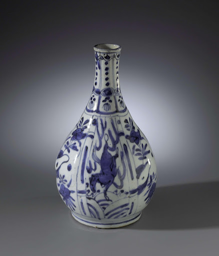 Pear-shaped bottle vase with horses and flower sprays