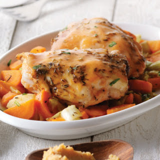 Miso Orange Glazed Chicken with Carrots & Leeks