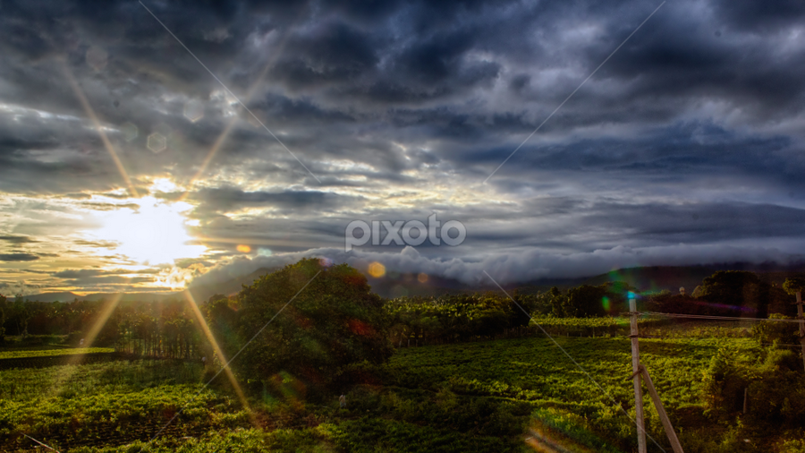 Monsoon Sunset HDR by Dheeraj Rao - Landscapes Sunsets & Sunrises ( clouds, mountains, hdr, nature, sunset, cloudscape, landscape )