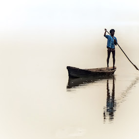 """""""O God, thy river is so great, and my boat is so small"""" by KP Singh - Transportation Boats ( water, punjab, boat, man, ludhiana, sutlej )"""