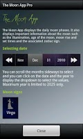 Screenshot of The Moon Phase App Pro