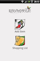 Screenshot of Shopaholic Shopping List