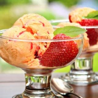 Creamy Mango Ice Cream w/Strawberry Swirl.