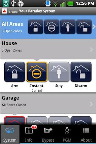 iParadox – Alarm Control Screenshot