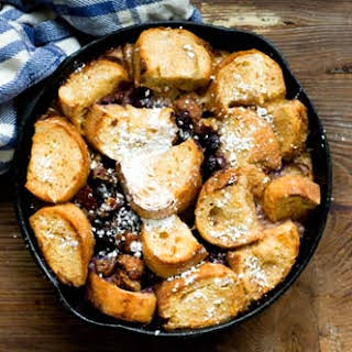 French Toast Casserole With Blueberries And Sausage.