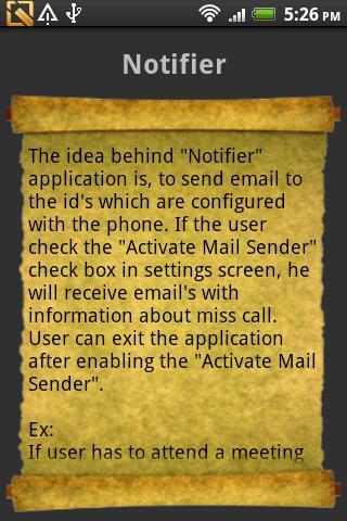 Miss Call Notifier- screenshot