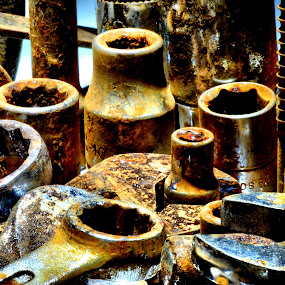 Left To Rust by Brian Rogers - Artistic Objects Still Life ( tools, rusty, rust, spanners, decay )