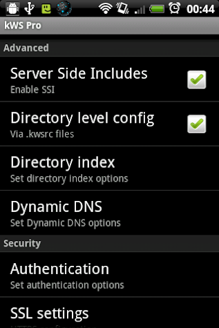 kWS Pro (Android Web Server) Screenshot