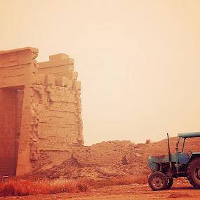 Ruins by Kajsa Karlsson - Transportation Other ( sand, ancient, desert, blue, ruins, storm, rust, tractor, egypt )