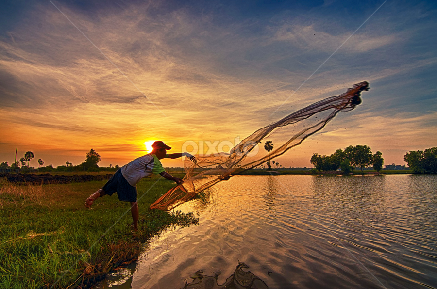 Fishing time! by Ravuth Um - People Street & Candids ( sunset, lanscape, lake, fishing, alone, man )