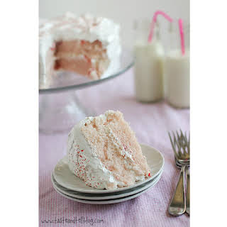 Cherry Chip Cake with Fluffy Frosting.
