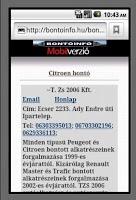 Screenshot of Bontóinfó, Autóbontók