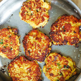 Bacon, Spaghetti Squash, and Parmesan Fritters.
