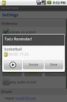 Screenshot of Audio Reminder