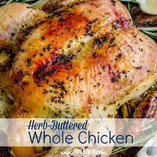 Herb-Buttered Whole Chicken Stuffed With Sauerkraut