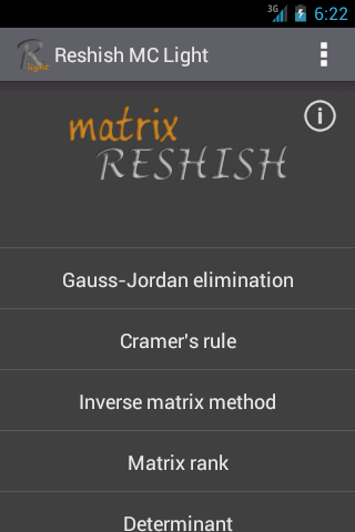 Matrix Calculator R. Light