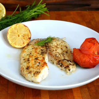 Broiled Tilapia with Dill and Roasted Tomatoes.