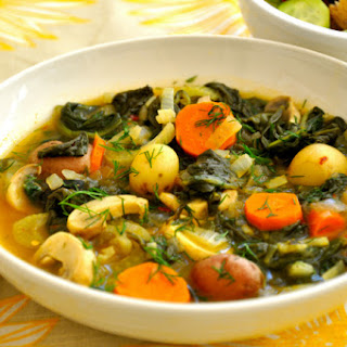 Braised Greens, Potatoes & Mushrooms with Lemon and Fennel