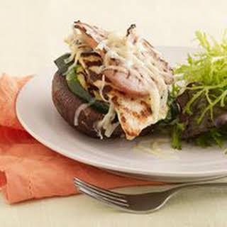 Grilled Chicken Cordon Bleu Portobello Stacks.