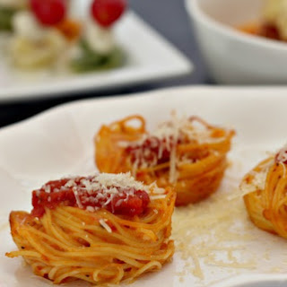 Baked Spaghetti Cups.