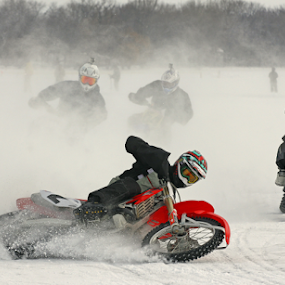 bad start position by Dave Hollub - Sports & Fitness Motorsports ( ice racing, motorcycles on ice,  )