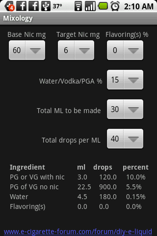 Mixology - eliquid mixing calc - screenshot