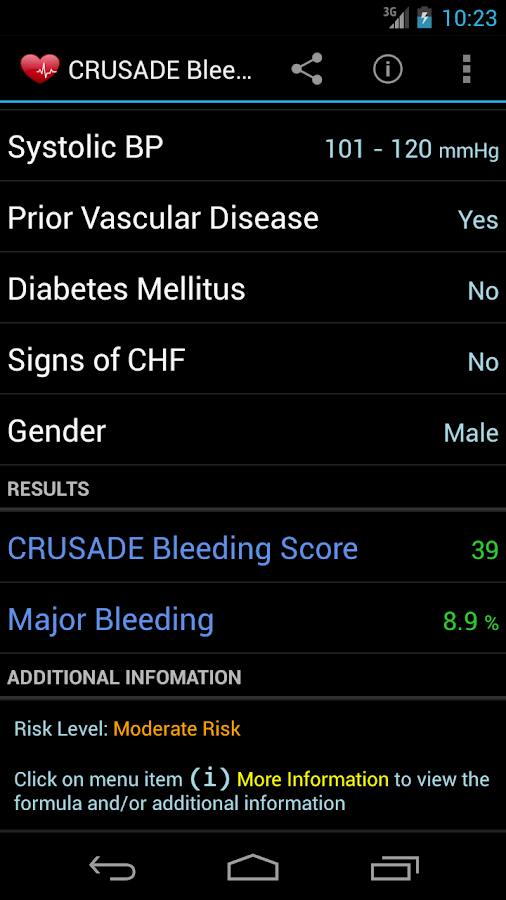 CRUSADE Bleeding Score- screenshot