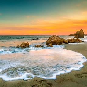 Wave Bubbles by Jay R Vismanos - Landscapes Beaches ( my mexico, shoe prints, beach, landscape, sun, sky, malibu, rocks, water, sand, orange, jrvismanos, foot prints, colors, skyblue, bubbles, sea, seascape, once in a lifetime, sun ray, blue, sunset, strykher, wave, best photo )