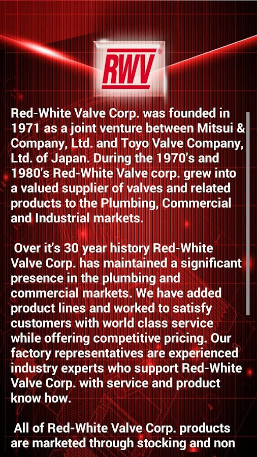 Red-White Valve Corp. (RWV)- screenshot