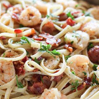 Shrimp and Bacon Pasta Carbonara.