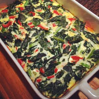 Kale & Mozzarella Frittata (or crustless quiche).