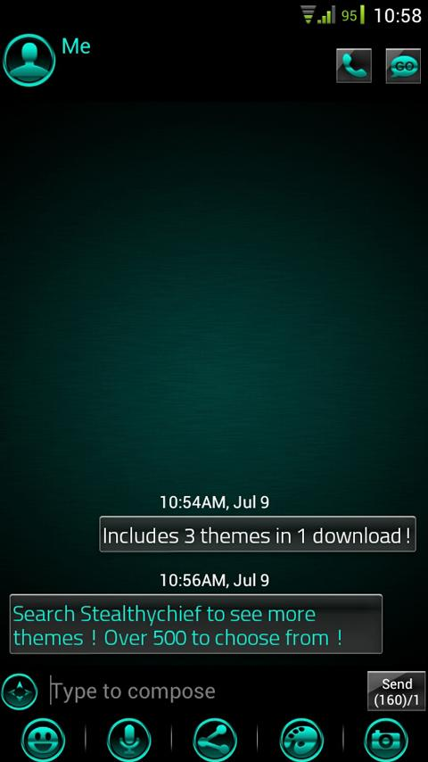 GO SMS Platinum Cyan Theme- screenshot