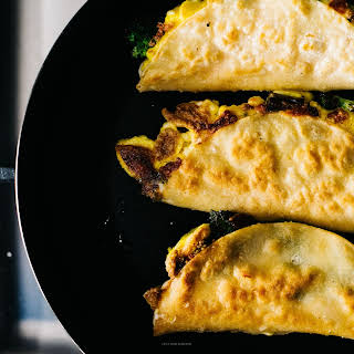 Breakfast Quesadillas with Broccoli, Cheddar and Eggs.