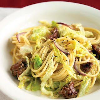 Spaghetti with Sweet Sausage and Cabbage.