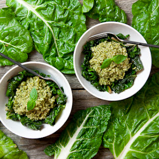Pesto Brown Rice with Sautéed Swiss Chard (Vegan & Gluten-Free)