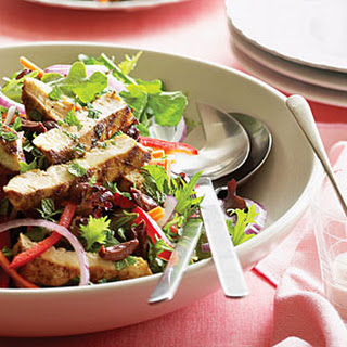 Grilled Chicken on Greens with Creamy Harissa Dressing