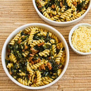 Pasta with Hot Italian Sausage, Kale, Garlic, and Red Pepper Flakes.