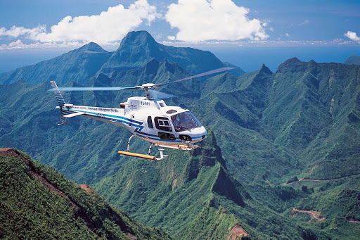 Helicopter-Over-Tahiti - Helicopter tours over Tahiti allow visitors to view the scenic landscapes from a bird's eye view.