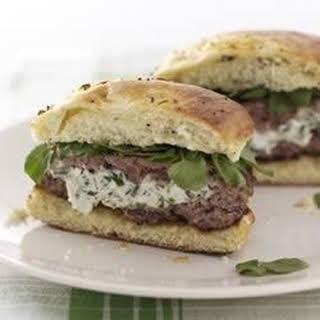 Herbed Cream Cheese-Stuffed Lamb Burgers.