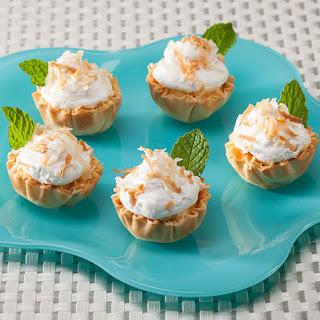 Coconut Banana Mini Phyllo Cream Pies.