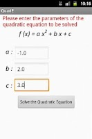Screenshot of Quadratic Equation Solve/Graph