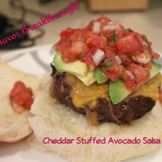 Cheddar Stuffed Avocado Salsa Burgers!