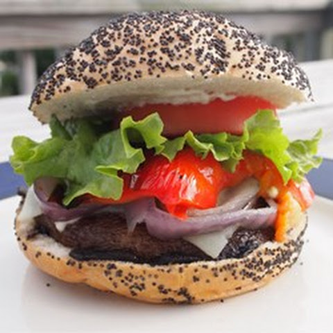Portobello Mushroom And Goat Cheese Sandwich With Smoked Pepper Spread ...