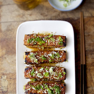 Tofu Dengaku with Ginger and Scallions