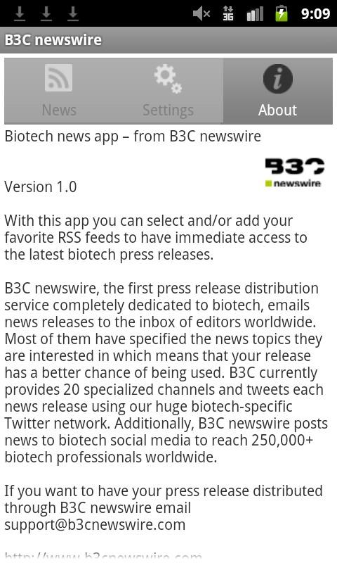 B3C newswire- screenshot