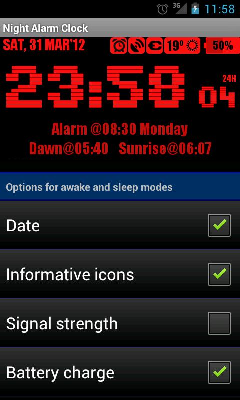 Night Alarm Clock - screenshot
