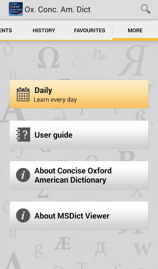 Concise Oxford American Dict- screenshot